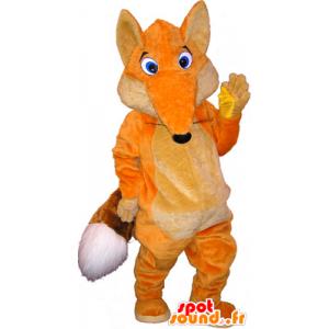 Arancione e bianco mascotte volpe con gli occhi azzurri - MASFR032538 - Mascotte Fox