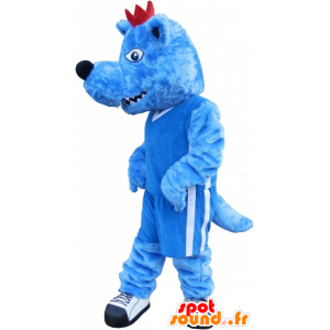 Blue wolf mascot with a red crest and a fierce - MASFR032540 - Mascots Wolf