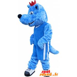 Blå Wolf maskot med en rød kam og en voldsom - MASFR032540 - Wolf Maskoter