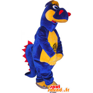 Dinosaur mascot blue, yellow and red - MASFR032541 - Mascots dinosaur