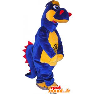 Mascotte de dinosaure bleu, jaune et rouge - MASFR032541 - Mascottes Dinosaure