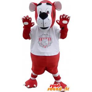 Mascota del tigre rojo y blanco en ropa deportiva - MASFR032542 - Mascota de deportes