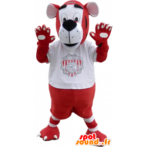 Maskot červený a bílý tygr ve sportovní oblečení - MASFR032542 - sportovní maskot