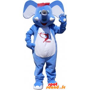 Mascot blauen und weißen Elefanten mit roten Haaren - MASFR032543 - Elefant-Maskottchen