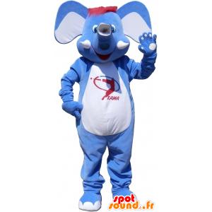 Mascot elefante blu e bianco con i capelli rossi - MASFR032543 - Mascotte elefante