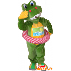 Mascotte coccodrillo verde e giallo con una boa