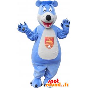 Mascot bear, blue and white teddy - MASFR032546 - Bear mascot