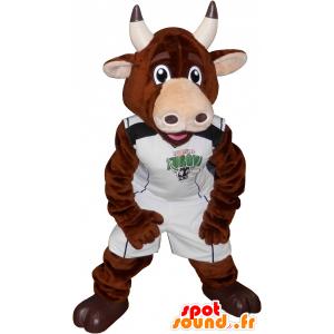 ταύρος μασκότ, καφέ αγελάδα σε αθλητικά - MASFR032547 - σπορ μασκότ