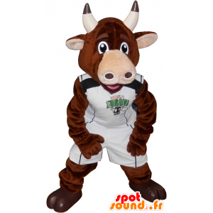 Bull mascot, brown cow in sportswear - MASFR032547 - Sports mascot