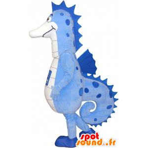 Mascot blue and white sea horse, very successful