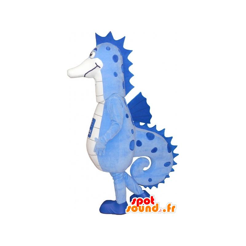 Mascot blue and white sea horse, very successful - MASFR032551 - Mascots hippopotamus