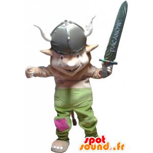 Leprechaun maskotti, gnome pukeutunut Viking - MASFR032553 - joulun Maskotteja