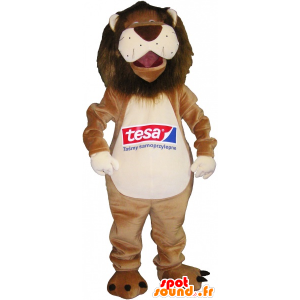 Beige lion mascot and very funny white - MASFR032554 - Lion mascots