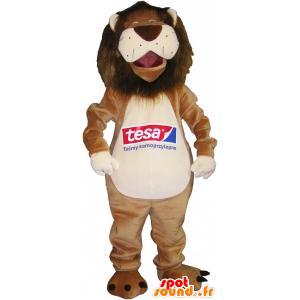 Beige mascotte leone e bianco molto divertente - MASFR032554 - Mascotte Leone