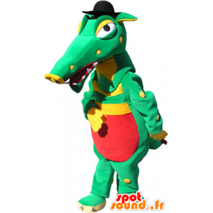 Grønn krokodille maskot, gul og rød med en svart lue