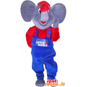 Elephant mascot with a red and blue outfit - MASFR032558 - Elephant mascots