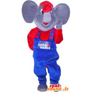 Mascotte elefante con un rosso e blu - MASFR032558 - Mascotte elefante