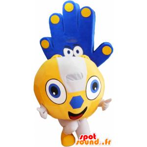 2 Haustiere: eine gelbe Kugel und eine blaue Hand - MASFR032559 - Maskottchen von Objekten