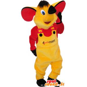 Mascota del elefante de color amarillo con un vestido amarillo y rojo - MASFR032560 - Mascotas de elefante