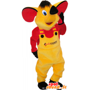 Yellow elephant mascot with a yellow and red dress - MASFR032560 - Elephant mascots