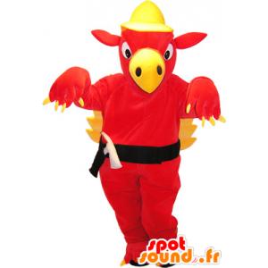 Czerwony i żółty smok olbrzym maskotka - MASFR032564 - smok Mascot