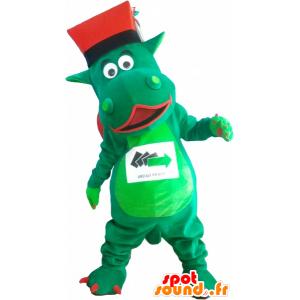 Obří zelený dinosaurus maskot s kloboukem - MASFR032565 - Dinosaur Maskot