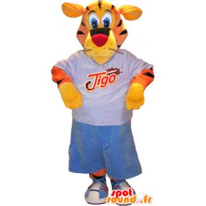 Tigre mascote, laranja, amarelo, preto com equipamentos esportivos - MASFR032566 - mascote esportes