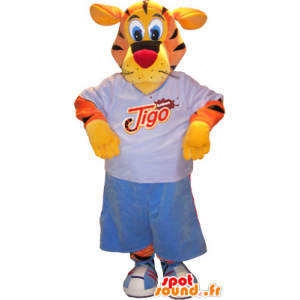 Tijger mascotte, oranje, geel, zwart met sportartikelen - MASFR032566 - sporten mascotte