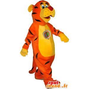Orange Tiger-Maskottchen realistisch, gelb und schwarz - MASFR032567 - Tiger Maskottchen