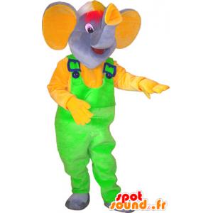 Mascot grauer Elefant mit einem neon grünen Overalls - MASFR032569 - Elefant-Maskottchen