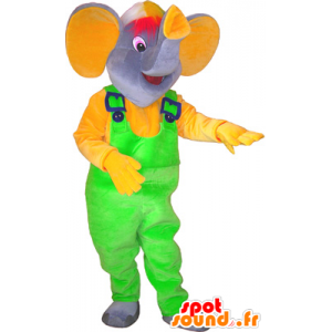 Mascot gray elephant with a neon green overalls - MASFR032569 - Elephant mascots