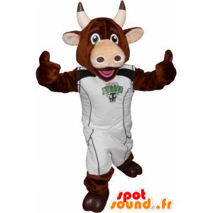 καφέ αγελάδα μασκότ με αθλητικά - MASFR032570 - σπορ μασκότ