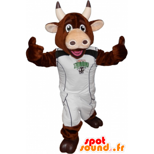 Vaca mascota de color marrón con un traje deportivo - MASFR032570 - Mascota de deportes
