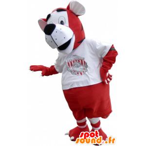 Mascota del tigre en rojo deportivo y ropa blanca - MASFR032574 - Mascota de deportes