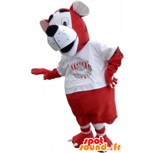 Tiger mascot in sports red and white outfit - MASFR032574 - Sports mascot