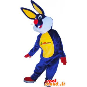 Plush rabbit mascot blue and yellow - MASFR032575 - Rabbit mascot
