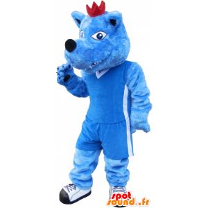 Blauwe en witte hond mascotte. blauw dier mascotte - MASFR032576 - Dog Mascottes