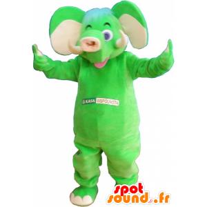 Μασκότ φανταχτερός πράσινο ελέφαντα - MASFR032577 - Ελέφαντας μασκότ
