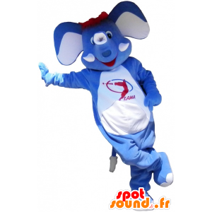 Modrý slon maskot s červenými vlasy - MASFR032578 - slon Maskot
