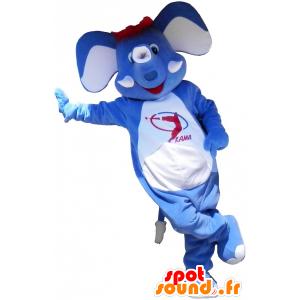 Niebieski słoń maskotki z czerwonymi włosami - MASFR032578 - Maskotka słoń