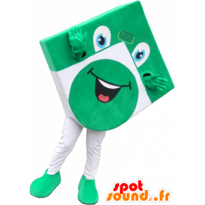 Vihreä ja valkoinen neliö maskotti näyttää hauskaa - MASFR032580 - Mascottes d'objets