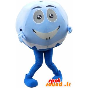Μασκότ μπλε και άσπρο μπάλα. Μασκότ στρογγυλό κεφάλι - MASFR032587 - σπορ μασκότ