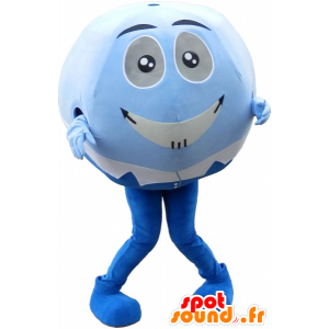 Azul de la mascota y la bola blanca. La mascota de cabeza redonda - MASFR032587 - Mascota de deportes