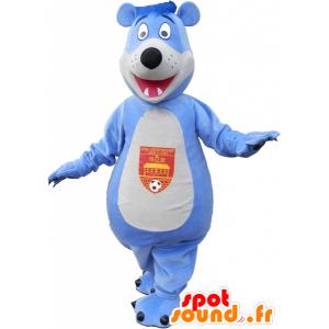 Blue and white teddy mascot - MASFR032588 - Bear mascot
