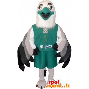 Mascot white and green sphinx in sportswear - MASFR032593 - Sports mascot