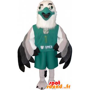 Maskot hvit og grønn sfinksen i sportsklær - MASFR032593 - sport maskot