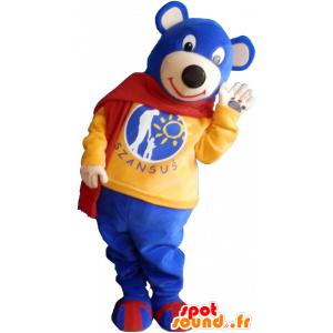 Small blue teddy bear mascot wearing a red scarf - MASFR032594 - Bear mascot