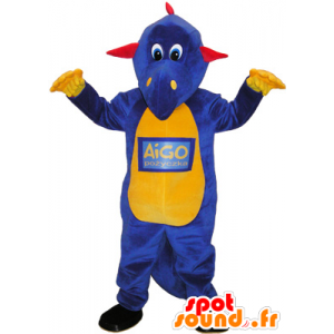 Purple dinosaur mascot, yellow and red - MASFR032598 - Mascots dinosaur