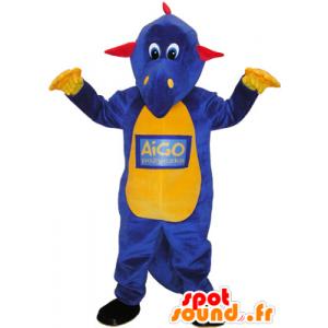 Lilla dinosaur maskot, gult og rødt - MASFR032598 - Dinosaur Mascot