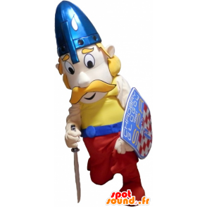 Viking mascot blond mustache with a helmet and a shield - MASFR032606 - Goats and goat mascots